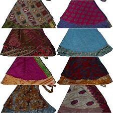 "Wholesale 5 Pcs Lot Two Layers Women Indian Sari Wrap Around Skirt 36"" XL"