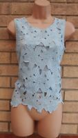 FREESIA LIGHT BLUE FLORAL CROCHET LACE SLEEVELESS EMBROIDERED TOP BLOUSE 8 S
