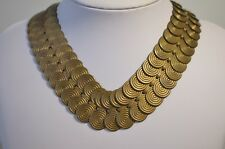 Vintage Antique Art Deco Solid Brass Circle Link Choker Necklace 18.5""