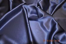 Pure silk crepe back satin, 19 momme, 114 cm, navy, sold by half meter