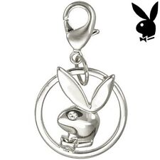 AUTHENTIC Playboy Charm Sterling Silver Plated Swarovski Crystal 4 Bracelet Link