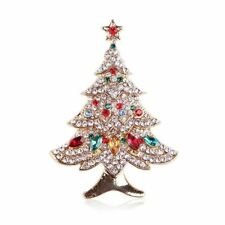 *uk Shop* White Gold Crystal Rhinestone Christmas Tree Brooch Oval Pink Blue Red