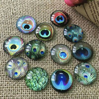 50pcs Round Glass Mixed Peacock Design Cameo Cabs Flatback DIY Accessory 8-15 mm