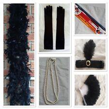 20s Flapper Headband Feather Boa Gloves Cigarette Holder Necklce Fan Gatsby