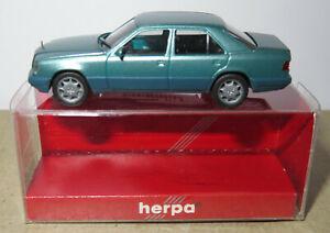 MICRO HERPA HO 1/87 MB MERCEDES-BENZ E 320 LIMOUSINE BLEU VERT METAL #031424 BOX
