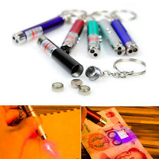 1mW 2in1 Super Red Laser Pointer Key Ring LED Lamp Light Keyring Money Detector