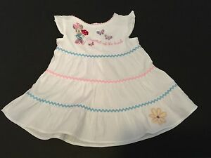 Disney Baby Minnie Mouse Sweetest Of The Bunch White Summer Dress Size 6M 9M