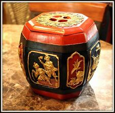 """Extraordinary  !Chinese  """"Hand Carved Wooden Rice Boxl""""  (8"""" High x 8"""" Wide)"""