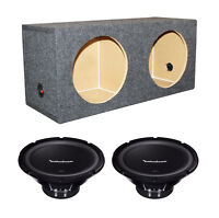 "2) Rockford Fosgate R1S410 10"" 300W 4-Ohm Subwoofers Subs + Dual Sealed Sub Box"