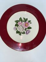 """Homer Laughlin Cavalier Burgundy Rim China Dinner 10"""" Plate"""
