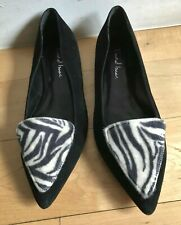DAVID ISAAC Black Suede Zebra Pony Hair Pointed Toe Flat Shoes 8M Made in Spain