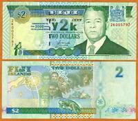 FIJI, $2 dollars, 2000, Y2K issue, P-102, UNC > Commemorative Millennial