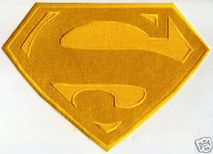 """7"""" x 10"""" Large Fully Embroidered All Yellow Superman Cape Back Logo Patch"""