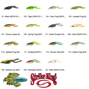 Strike King BABY Sexy Frog (BSFKVD) Topwater Hollow Body Lures Any 15 Colors