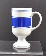 "Vintage 8311 Japan White Milk Glass Blue Stripe Pedestal Mug Coffee Cup 5 1/4"""