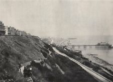 FOLKESTONE. View showing the Lees and the pier. Kent 1895 old antique print