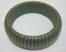 Lovely fabric covered chunky style bracelet blue green brown 2½ ins inner width