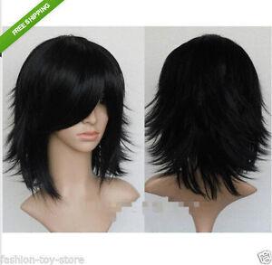 New Black Short Medium Straight Cosplay Anime Wig +free wigs cap