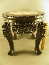 ANTIQUE ORNATE CARVED WOOD MARBLE TOP ASIAN- CHINESE-ORIENTAL- PLANT STAND-TABLE
