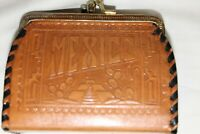 vintage Mexican Hand- tooled leather coin purse with laced edges
