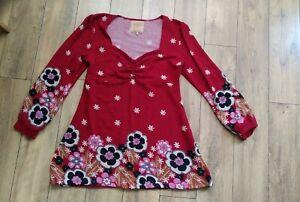 Joe Browns size 16 Tunic jumper top Red floral flower deisgn