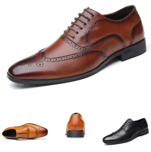 Mens Lace Up Brogues Leather Formal Shoes Dress Business Wedding Fashion Oxfords