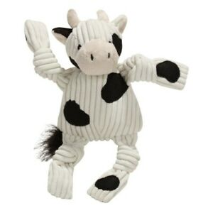 HuggleHounds Barnyard COW plush Corduroy Knotties TUFFUT Dog toy - Small  NEW