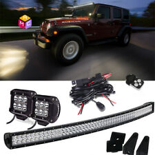 "54"" 312W Offroad Curved LED Light Bar +2X Cubics + Wire ATV/Yacht/Auxiliary Work"