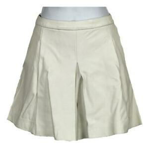 J Crew Collection Women's Pleated Leather Skort Shorts White 8 C5671