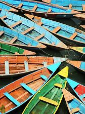 BLUE GREEN RED MOORED BOATS PHOTO ART PRINT POSTER PICTURE BMP235A