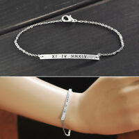 Custom Roman Numeral Bracelet Personalized Bar Bracelet  Anniversary Bangle