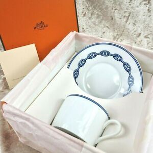 Hermes Demitasse Cup & Saucer CHAINE D'ANCRE Blue Authentic w/ Case (NEW)