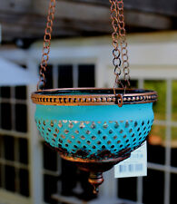 Turkish Style  Hanging Tea Light Candle Holder   ( AQUA / BRONZE   )  BRAND NEW