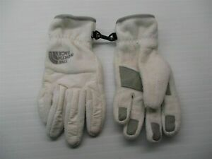 THE NORTH FACE Youth Girl's Size M Microfleece White/Gray Winter Gloves