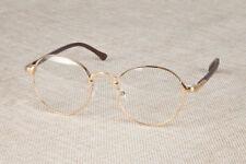 Vintage Oval Gold Eyeglass Frame Man Women Plain Glass Clear Full-Rim Spectacles