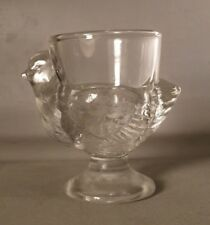 French Vintage Glass Egg Cup with Chicken