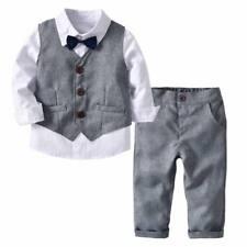 Baby Boy Grigio Panciotto Suit Bambini Tuta Smart Vestito Set