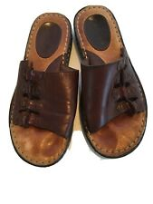 Minnetonka Sandals Size 7 Wide Brown Leather Womens Slides Mules