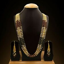 Gold Plated Ten layer Beaded Necklace set|Pote Mala Nepalese Indian Jewelry Set