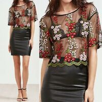 Summer Women See Through Crop Tops Sheer Mesh Floral Party Club Blouse Shirt HOT