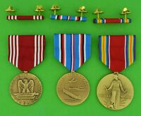 3 WWII Army Medals & 3 Ribbons - Good Conduct, American Theater, WW2 Victory