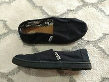 TOMS Classic Canvas Slip-on Shoes, Black- Youth 1, Boys & Girls Flats *NEW*