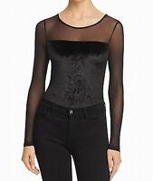 French Connection Black Womens Size Medium M Velvet Bodysuit Blouse $98 759