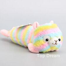 Alpacasso Rainbow Alpaca Pencil Case Plush Doll Stuffed Animal Toy 12'' Bag