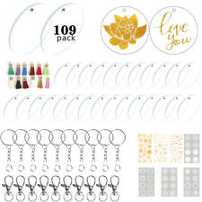 109pcs Acrylic Clear Circle Discs Diy Crafts Kits Round Keychain Blanks&Tassles