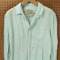 JACHS CO. light blue linen men's shirt LARGE tag long sleeve faded spring