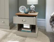 Sleek Modern Grey and Oak 1 Drawer Bedside Table with Brushed Steel Handles