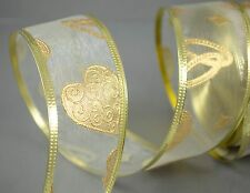 40 mm Yard Organza Embossed Wedding ring Heart Wired Ribbon Bride Love