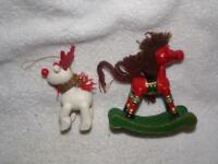 Holiday/ Christmas- Vintage 2 Wood/ Wooden Ornaments-Russ ROCKING HORSE & DEER