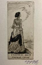 Cäcilie GRAF-PFAFF 1909 PF Woman Birds Migrating Etching Radierung n Exlibris